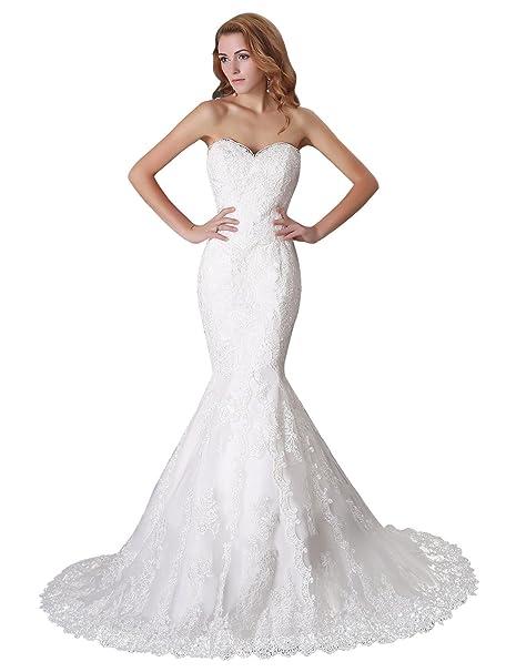 Adasbridal-Glamoroso Vestido de novia de tul de escote corazon de la sirena con apliques
