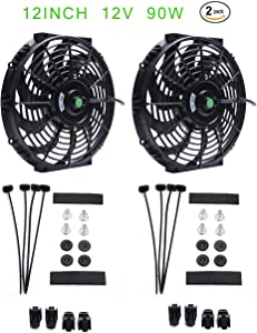 (Pack of 2) Engine Radiator Cooling Fan 12 Inch Curved Blade Ultra Thin Universal High Performance 12V 90W Motor,Radiator Fan With Fan Mounting Kit(Puller and Pusher Design)