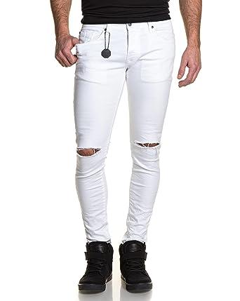 Project X - Jeans Blanc Homme Slim Troué Aux Genoux - Couleur