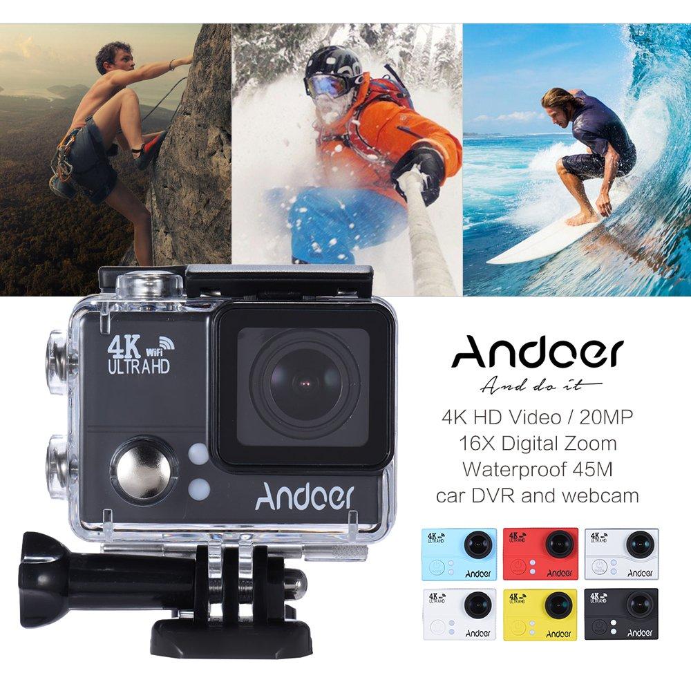 Andoer 4K 1080P 60 FPS Full HD Acción Cámara 2.0in LTPS LCD Pantalla Wifi 45M Impermeable 170 ° Gran Angular Videocámara Cam Video Digital DVR Coche: ...