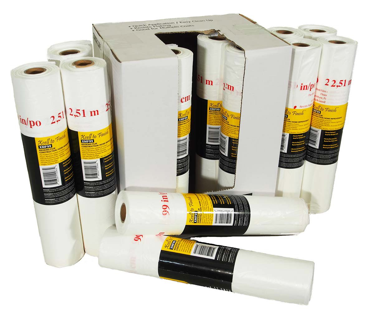 Reli. Pre-Folded Masking Film, 12 Rolls Wholesale Case (90 Foot Length x 99 inch Width)