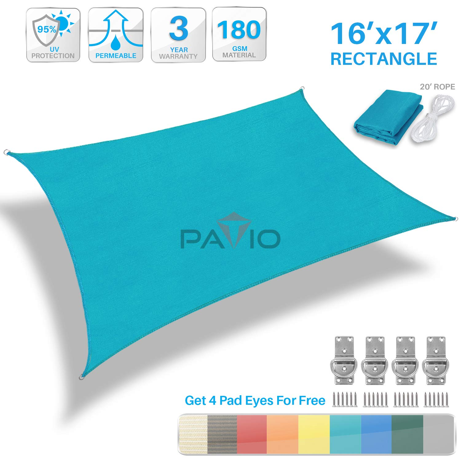 Patio Paradise 16' x 17' Solid Turquoise Green Sun Shade Sail Rectangle Square Canopy - Permeable UV Block Fabric Durable Outdoor - Customized Available