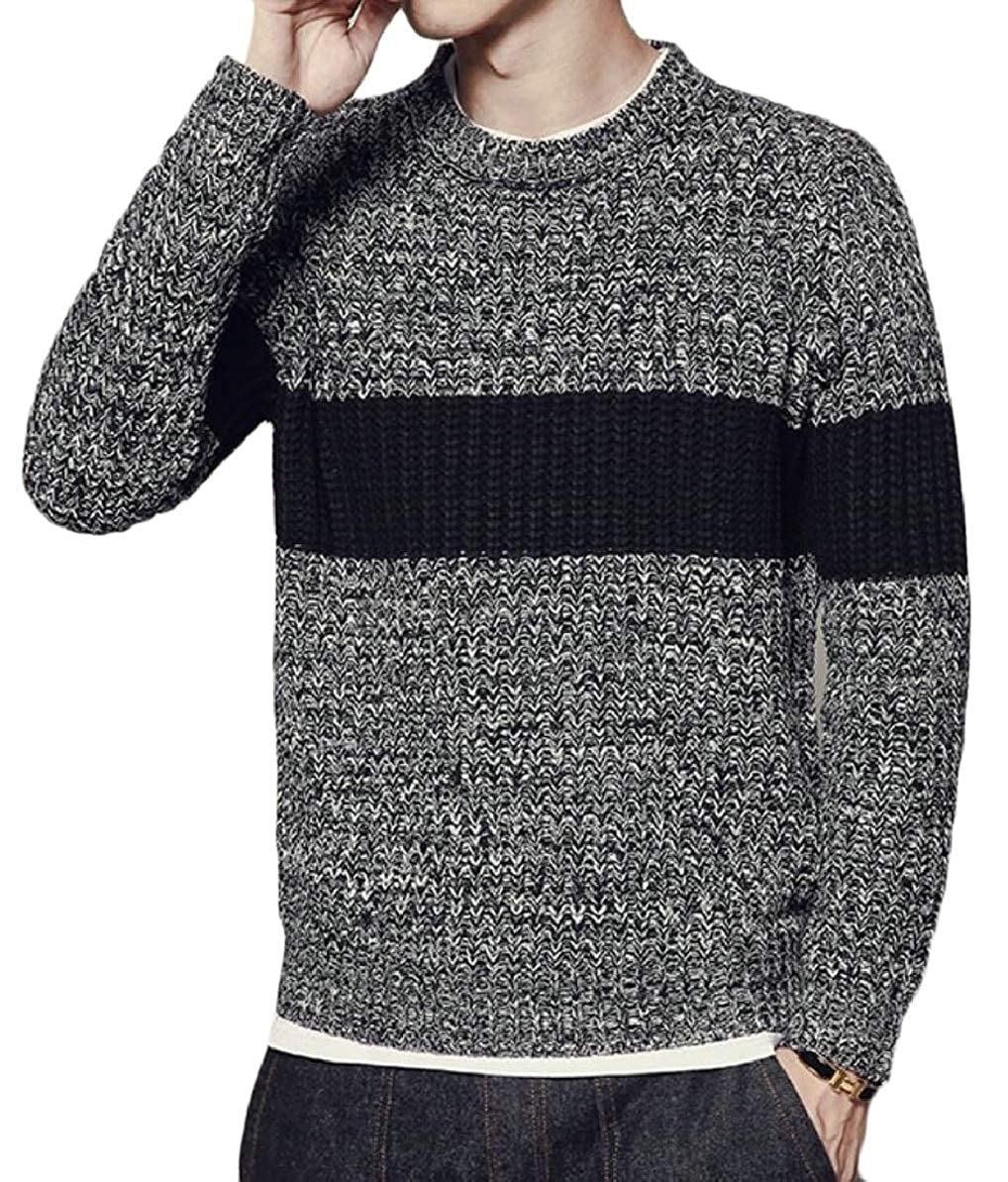 FLCH+YIGE Mens Warm Color Stitching Stylish Slim Fit Knitted Round Neck Pullover Sweaters