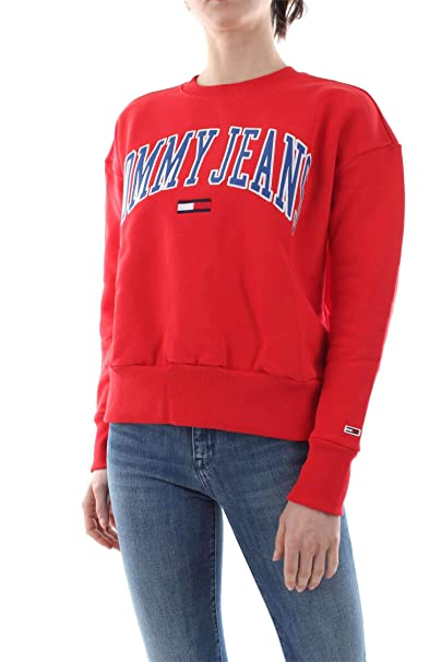 Tommy Hilfiger sudadera mujer DW0DW06050 667 TJW CLEAN COLLEGIATE CREW XS Rosso