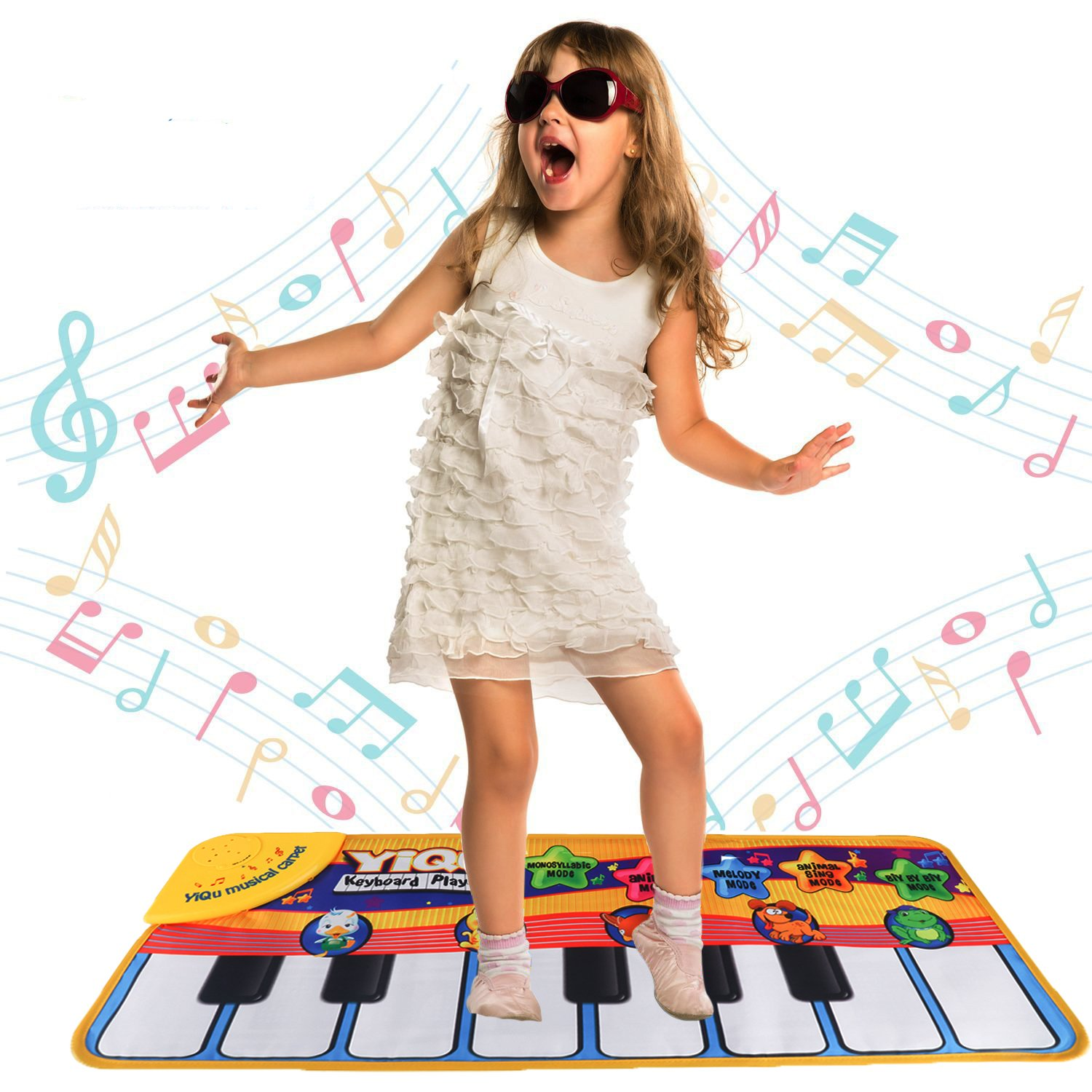 Floor Piano Mat Toy Piano Play Mat for Kids Babies Toddlers Animal Musical Toy Multi Function Step on Dace Piano Mat
