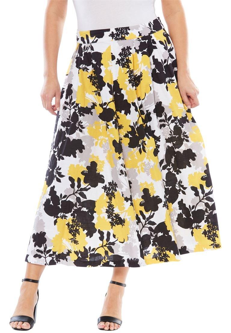 Jessica London Women's Plus Size Full Floral Skirt Lemon Sorbet Floral Motif,16