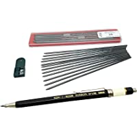 Koh-i-noor Toison D'or 5900CL ALL Metal Lead Holder 2mm with 12 pieces 2B lead refill & 1 lead Sharpener technical drawing mechanical drafting pencil set
