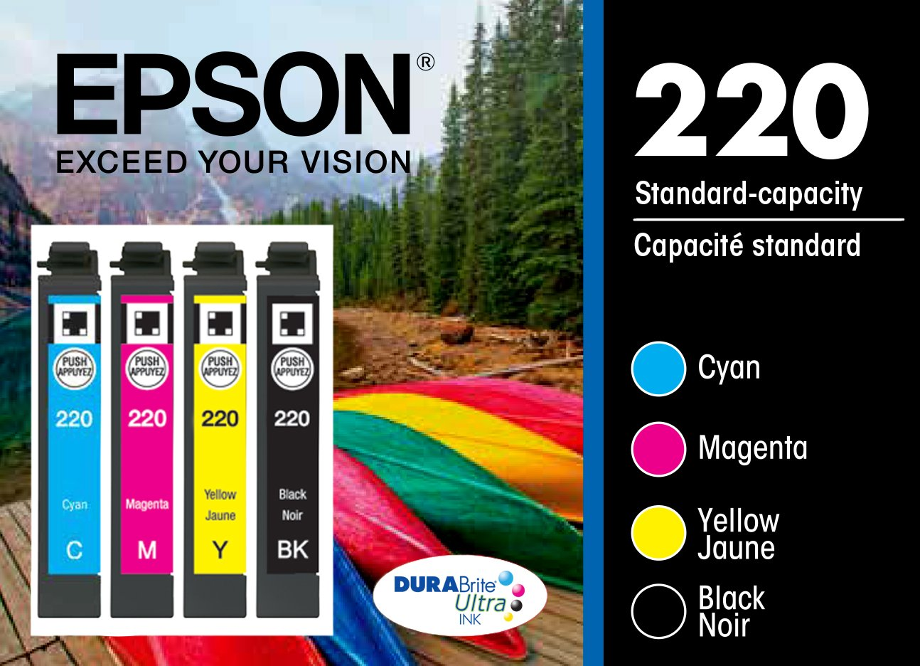Epson T220120-BCS DURABrite Ultra Color Multi-Pack Ink Cartridges Standard-Capacity (CMYK) - Frustration Free Packaging Ink