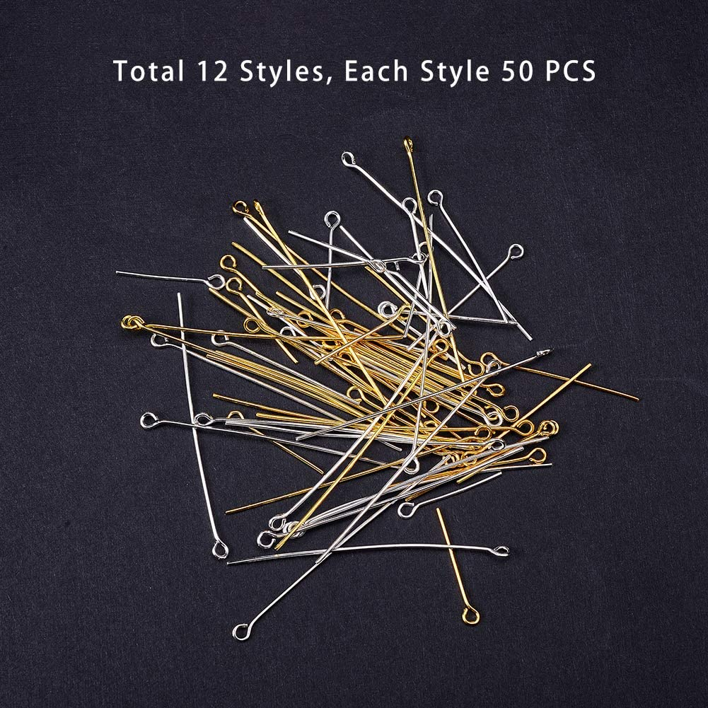 PandaHall Elite About 278 Pcs 1 Inch 304 Stainless Steel Flat Head Wire Headpins