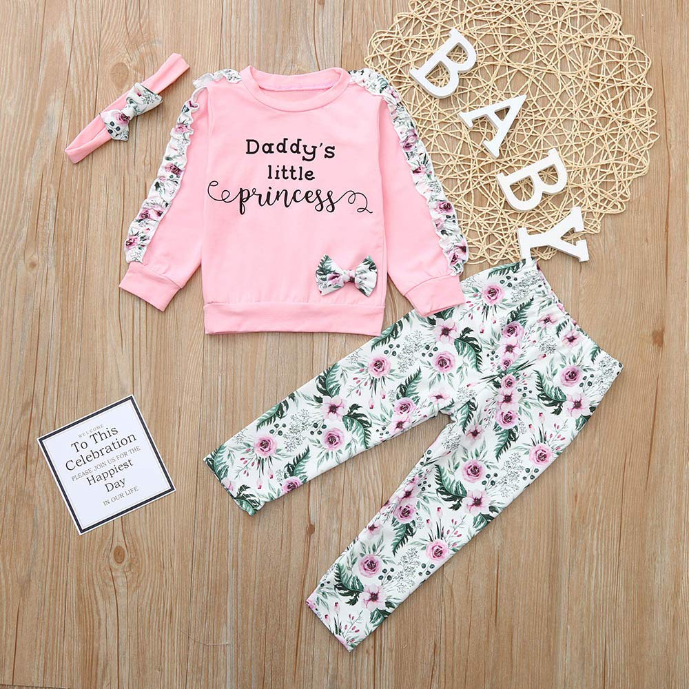 NUWFOR Baby Girls Kids Floral Clothes Long Sleeve T-Shirt+Pants+Headband Outfits Set(Pink,3-6Months by NUWFOR (Image #2)