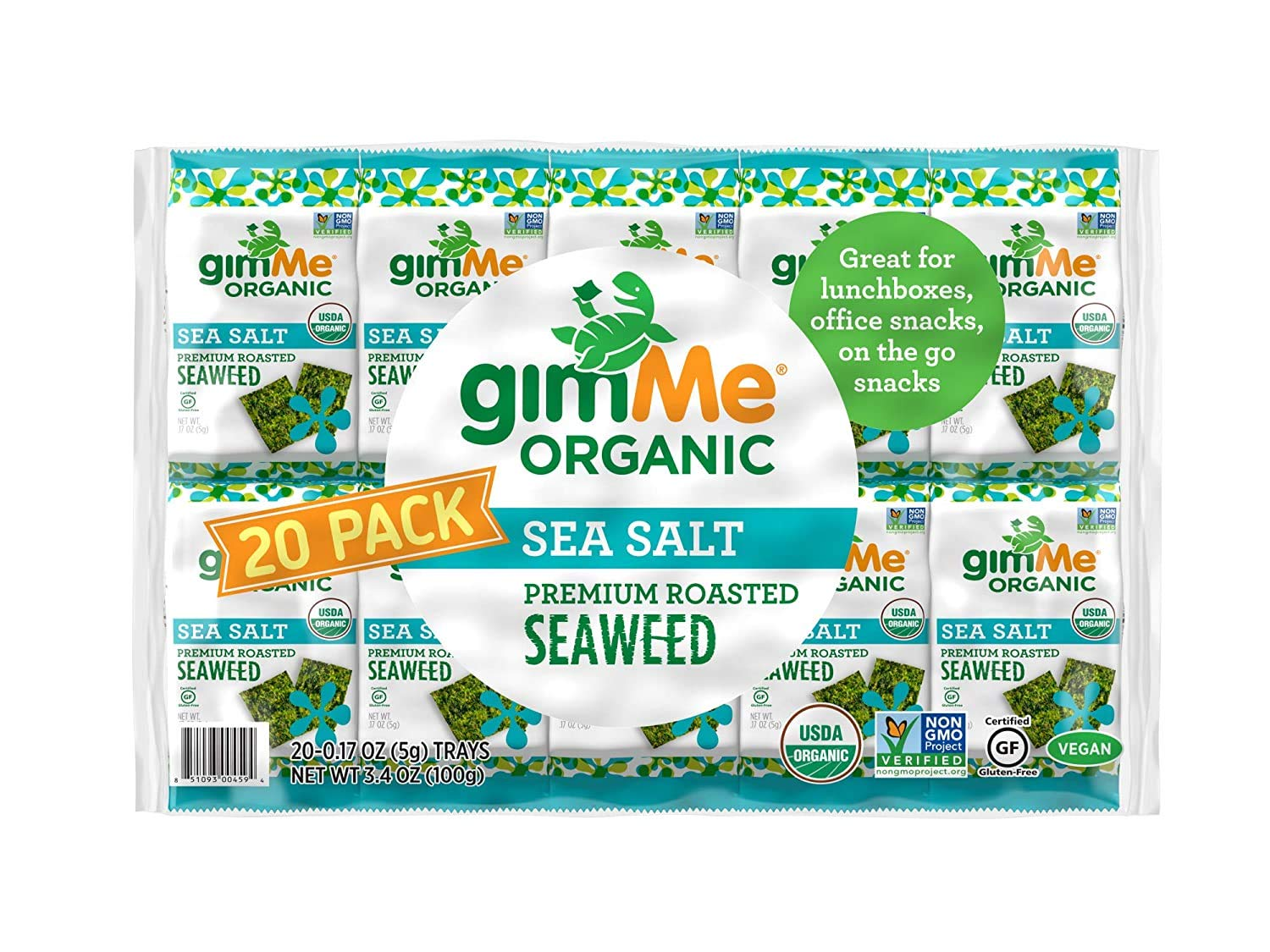gimMe Organic Roasted Seaweed Sheets - Sea Salt - 20 Count - Keto, Vegan, Gluten Free - Great Source of Iodine and Omega 3's - Healthy On-The-Go Snack for Kids & Adults
