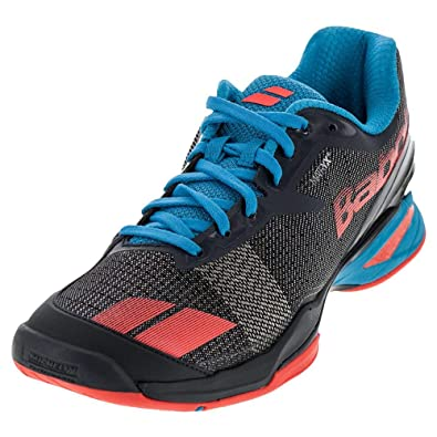 Babolat Tennis Shoes >> Amazon Com Babolat Jet Ac Men S Tennis Shoes Grey Red Blue 11