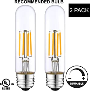 Light Accents Indoor/Outdoor Dimmable LED Filament Light Bulb T10, 4W (40W Equivalent), 400 lumens, 2700K (Warm White), Omnidirectional, Medium Base (E26) UL-Listed – (Pack of 2)