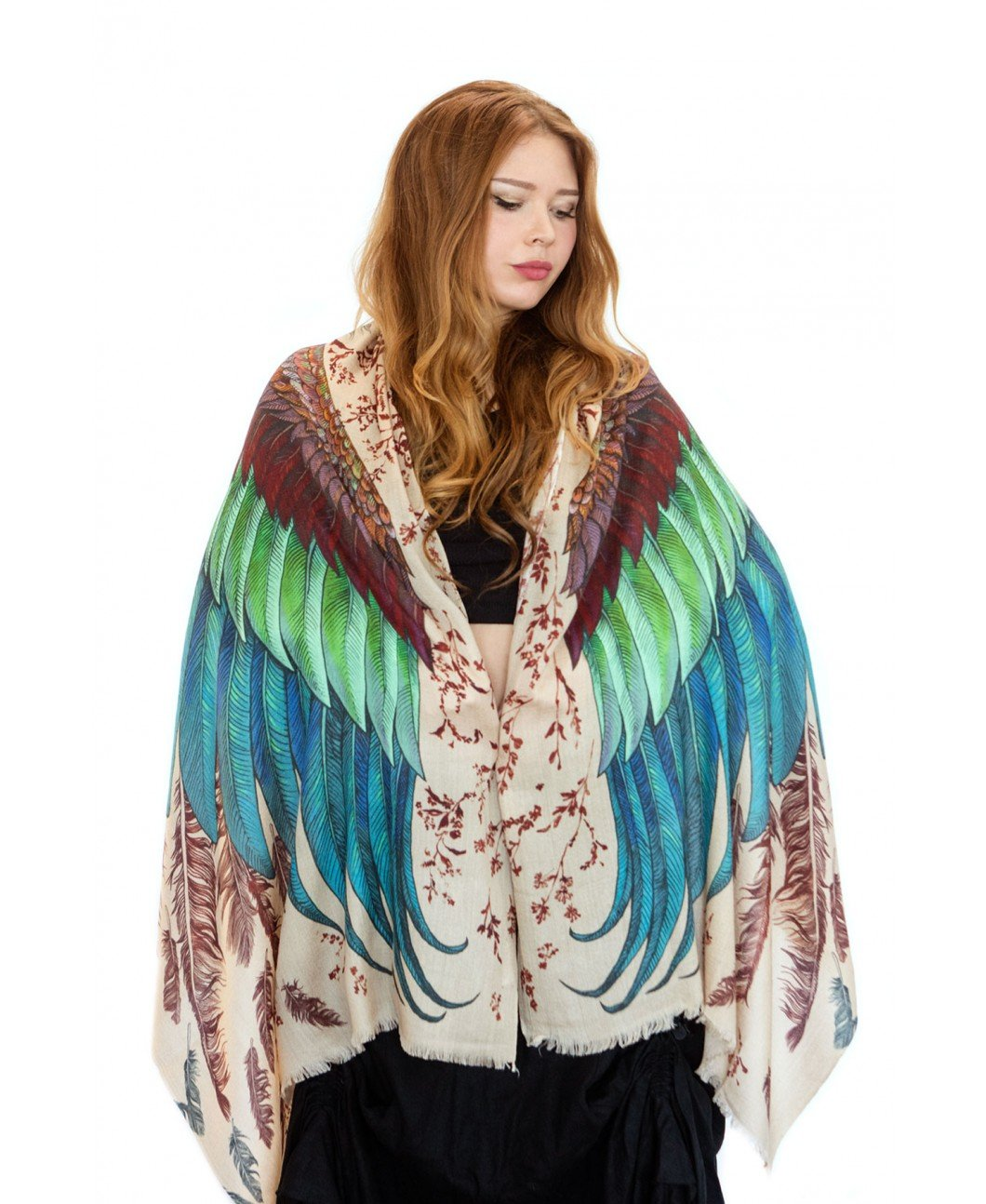 Bird Feathers Scarf, Silk & Cashmere Exotic Feathers Women's Scarf, Wrap