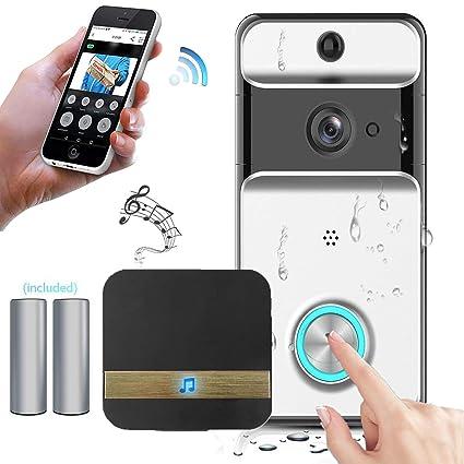 KOBWA Video Doorbell Traje, Inalámbrico Videoportero Impermeable 720HD con Audio bidireccional detección de Movimiento y