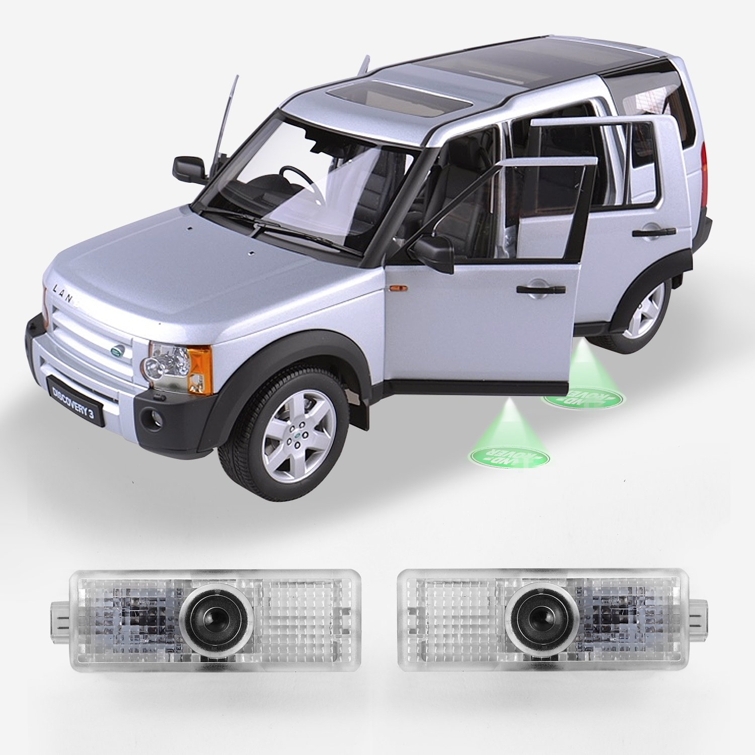 Land Rover No Drilling Rewiring Fading Car Door A Led Welcome Logo Projector Ghost Shadow Lights 2 Pc Set Automotive