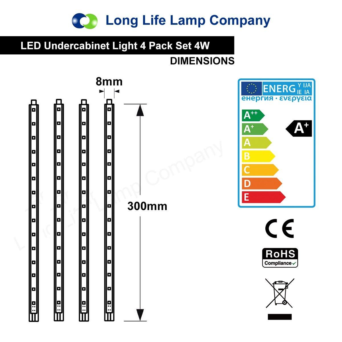 4 X 30cm Plug In Led Under Kitchen Cupboard Cabinet Strip Lights Day Star Light Bar Wiring Diagram Cool White Home