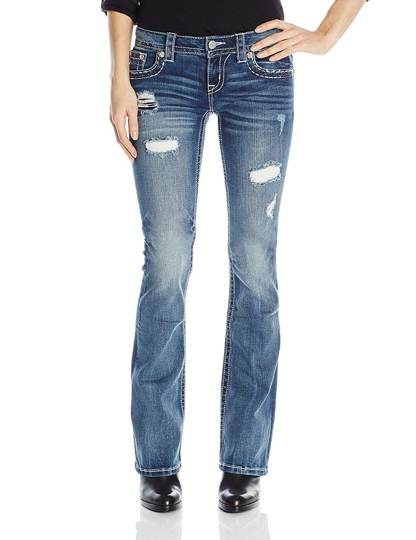 Miss Me Junior's Destructed Embellished Flap Pocket Bootcut Jean, Medium Wash, 25