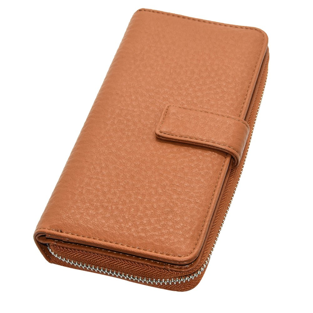 Cyanb Big Soft Leather Wallet for Women Long Large Capacity Cluth Multi Card Holder Oranizer Travel Purse Caramel