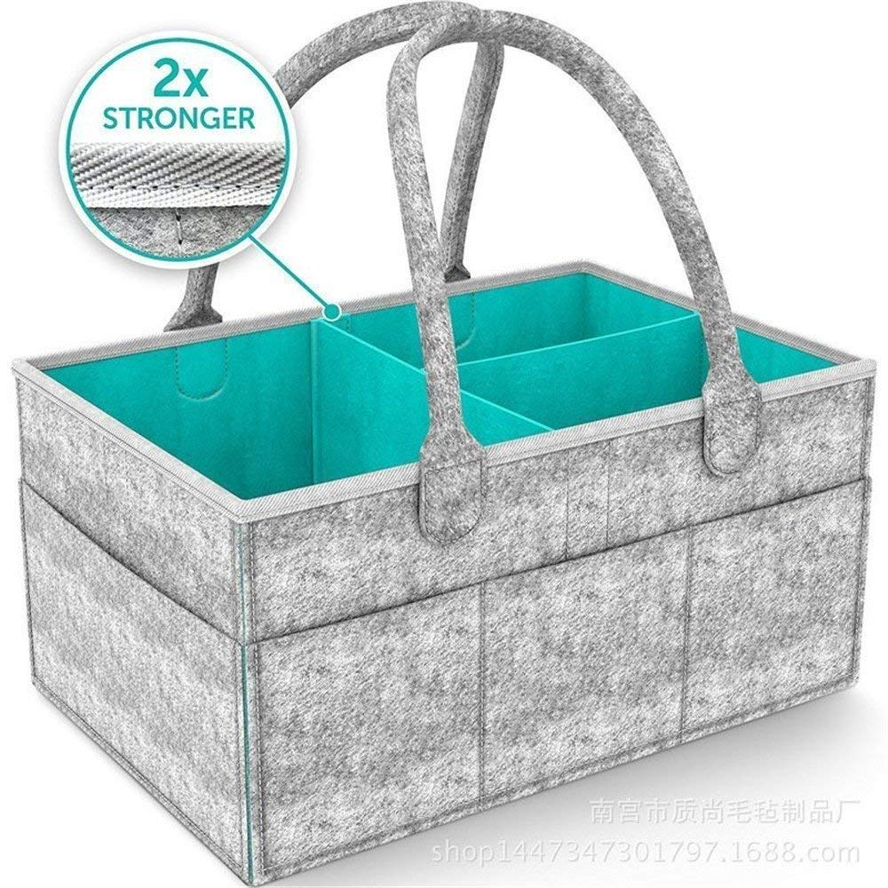 Lemonda Portable Large Baby Diaper Caddy Organizer Tote, Nursery Diaper Caddy Storage Bin, Gray Felt Basket Infant Girl Boy, Baby Shower Gift Basket Idea and Toy Storage Lemonda-US