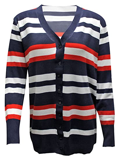Luxury Divas Red White   Navy Striped Long Sleeve Knit V-Neck Sweater Size  Small at Amazon Women s Clothing store  cc16b8b20
