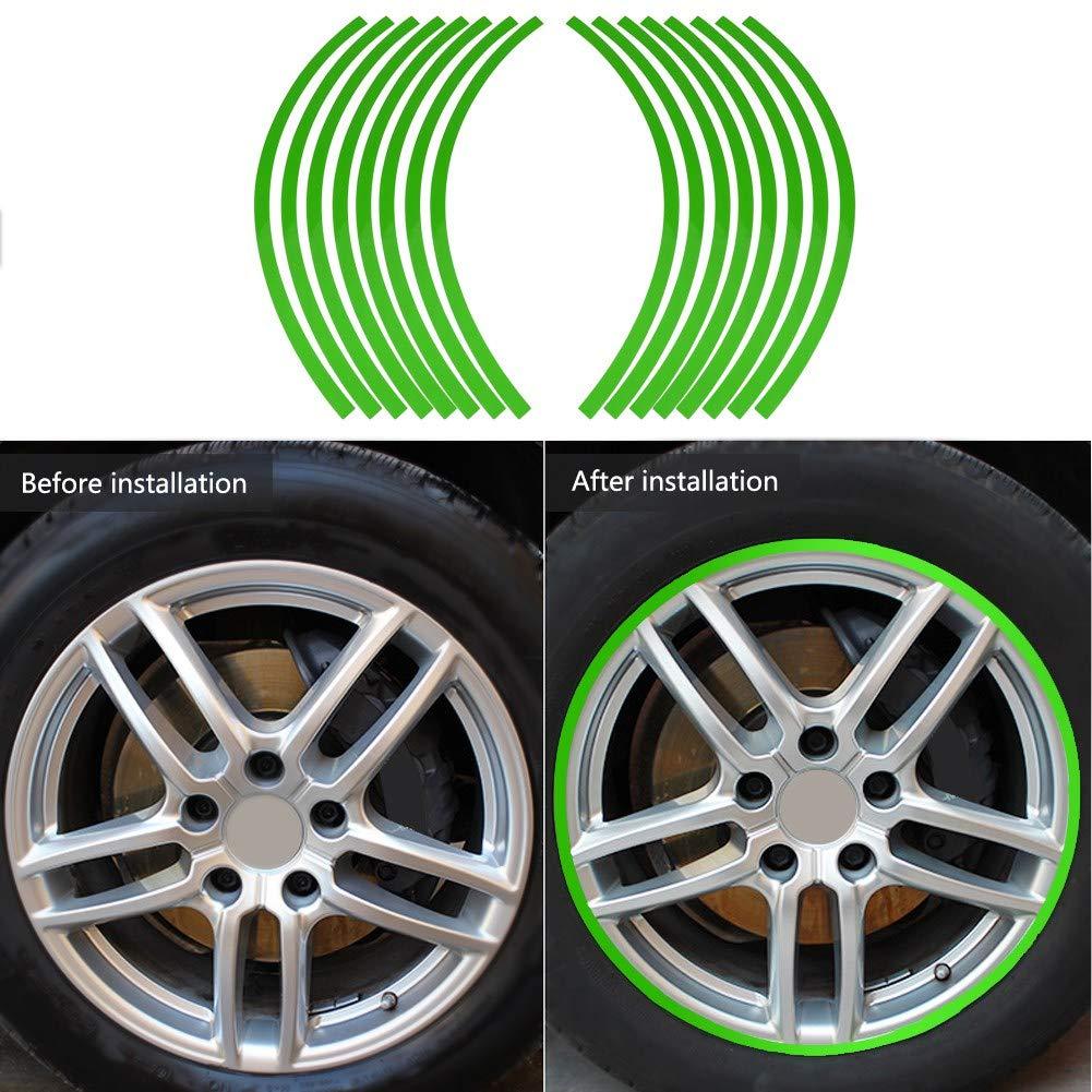 Blue Set di Adesivi Riflettenti in PVC Riflettente sul Volante Adesivi a Nastro Adesivi Decorativi per Ruote da 16-19 Pollici per Auto Adesivi per Ruote Bici e Mortorcycle