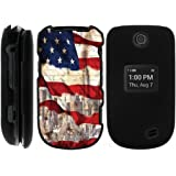 Miniturtle [LG Revere 3 Black Case][Snap Shell] 2 Piece Snap On Design Case, Perfect Fit Hard Rubberized Protector Cover - New York USA Flag