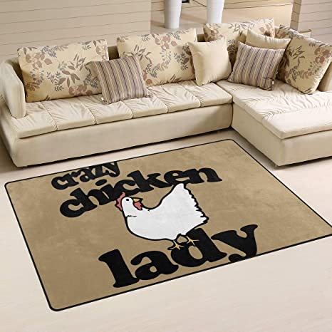 Amazon Crazy Chicken Lady Area Rugs Home Decor Anti Slippery Polyester Living Room Floor Mat Comfy Bedroom Carpets Doormats31 X 20 In60 39 In