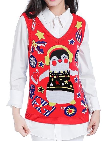 v28 christmas sweater women ugly girls vintage red knit merry xmas sweater vestxs - Christmas Sweater Vest