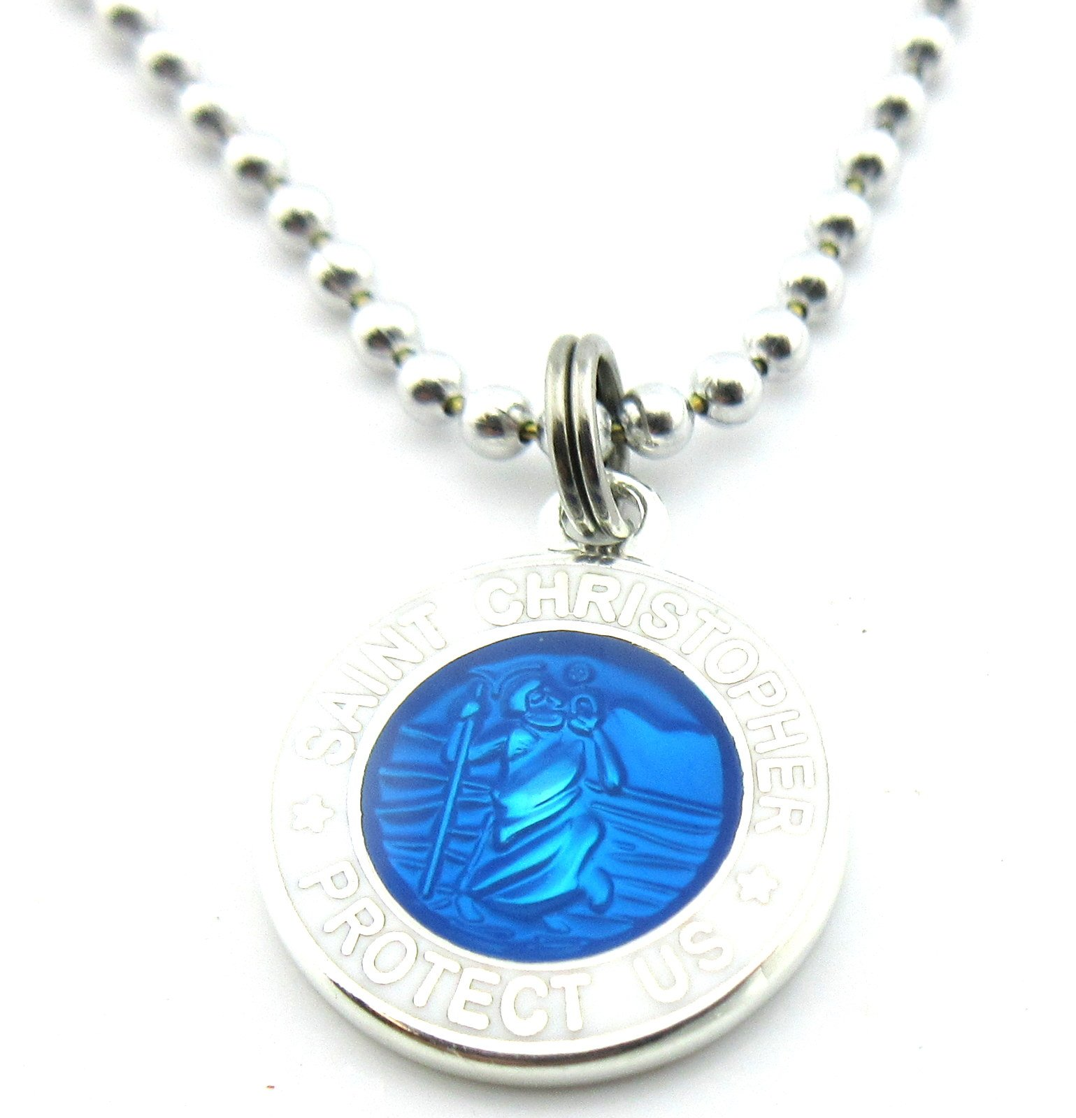 Get Back Supply Co Mini St Christopher Surf Medal Pendant Necklace,Royal Blue RB/WH