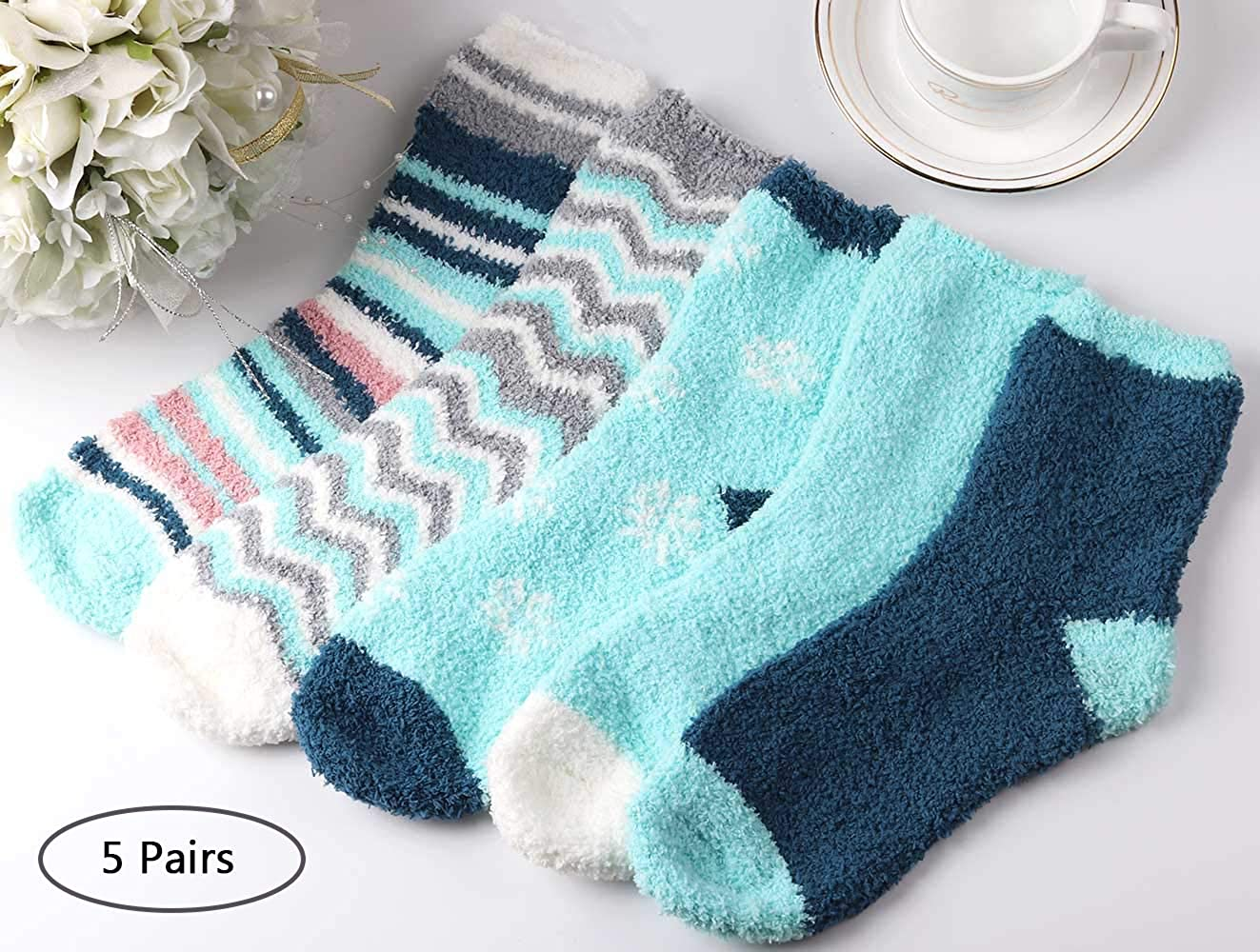 5 Pairs Soft Warm Fuzzy Cozy Home Bed Blue Socks for Winter Fluffy Socks for Women and Girls