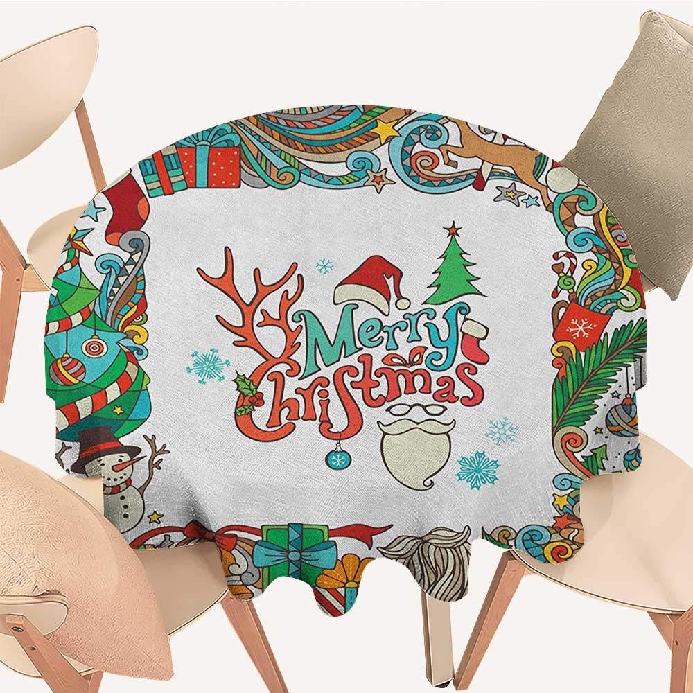 longbuyer クリスマステーブルクロス クリスマスリースデザイン 小さなバブル ヤドリギ スプルース ファーダークオーク画像 マルチカラー D 54