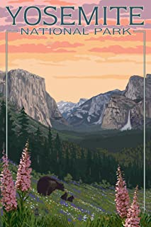 product image for Yosemite National Park, California - Bear and Cubs with Flowers 44578 (24x36 Signed Print Master Art Print - Wall Decor Poster)