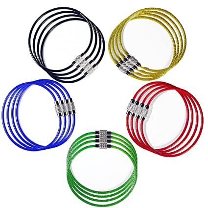 Image Unavailable. Image not available for. Color  20 Pack Wire Keychain  Cable Nylon Coated ... fab1e4578