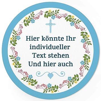 24 Individuelle Runde Etiketten Selber Gestalten Blumenkranz Herz Rahmen Blau Kreuz Personalisierte Aufkleber Für Hochzeit Taufe Konfirmation