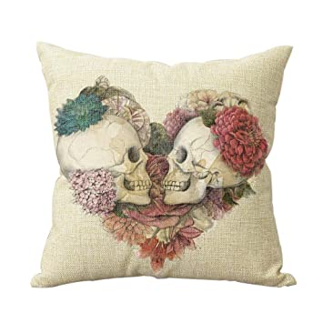 AAA + dos calaveras in Love decorativo algodón almohada ...
