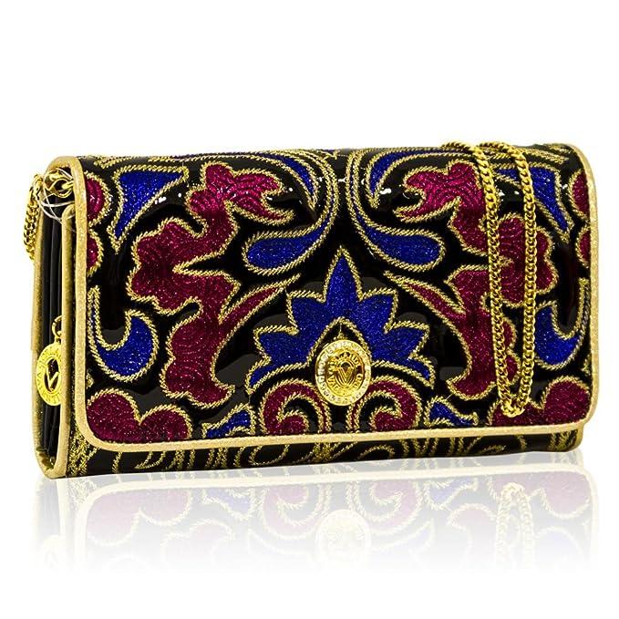 Valentino Orlandi Italie nichos - Blue/Red w/Oro de bordado de piel Cartera W/Cadena: Amazon.es: Ropa y accesorios