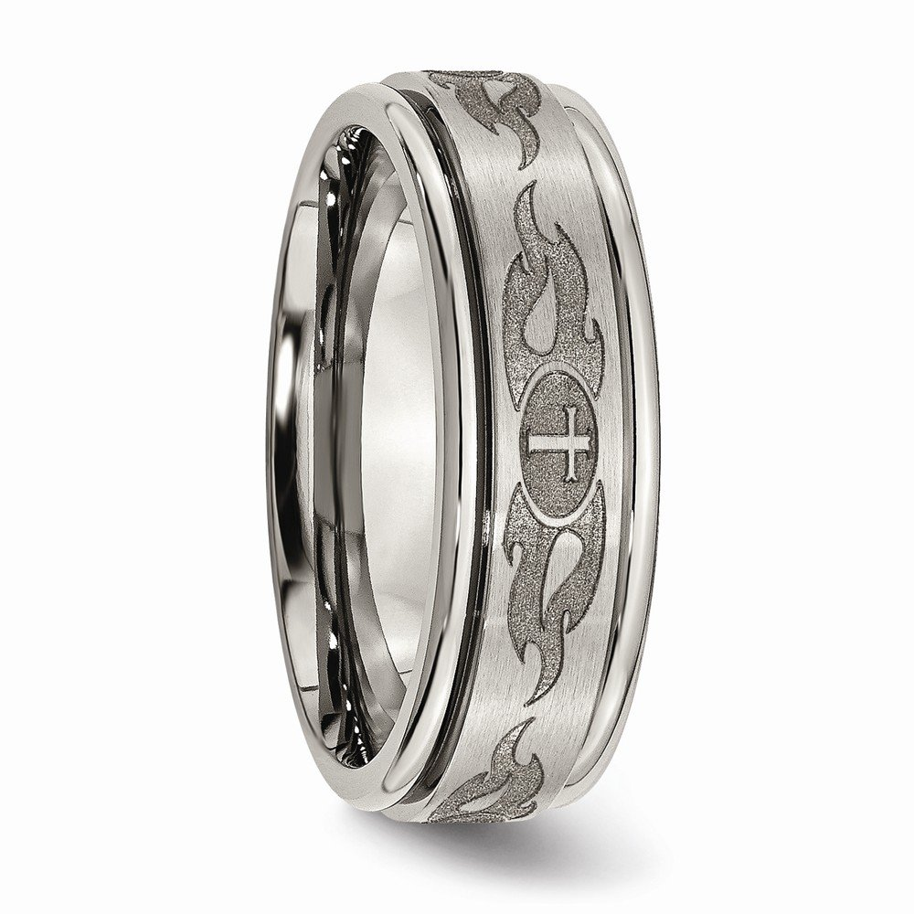 Jewelry Stores Network Mens 8mm Brushed Titanium Cross and Flames Grooved Edge Wedding Band Ring