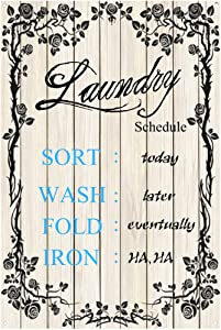 Original Vintage Design Imitation Wood Plan Laundry Schedule Tin Metal Signs Wall Art|Thick Tinplate Print Poster Wall Decoration for Laundry Room