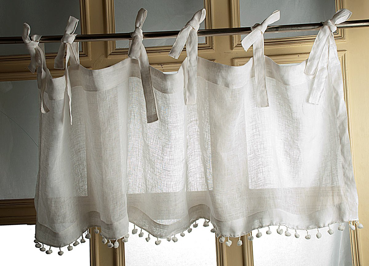 TSC White Organic Linen gauze or sheer with pom pom lace attached tie top tabs valance for window treatment 18 Drop 52 wide