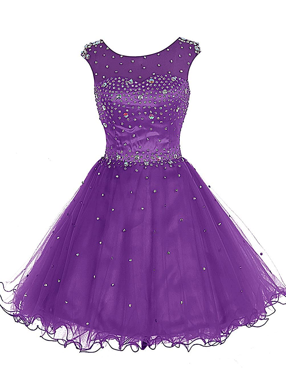 Dark Purple TideClothes Women's Beaded Homecoming Dress Short Party Prom Gowns