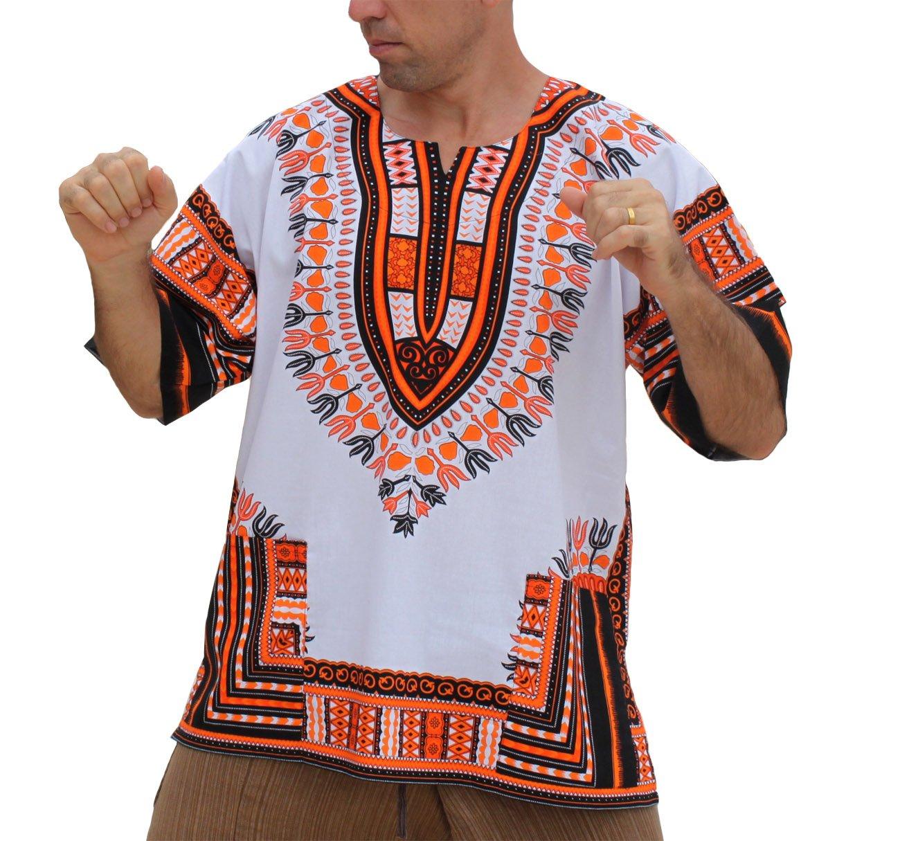 3d6d2033493 RaanPahMuang Unisex Bright Africa White Dashiki Cotton Plus Size Shirt