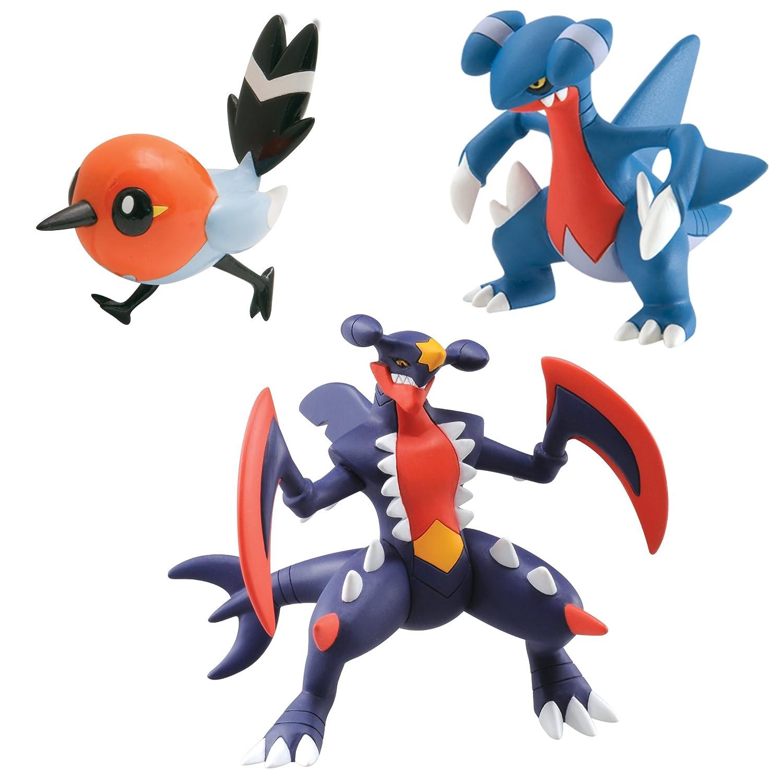 tomy pokmon t18379 figurine manga carchacrok carmache passerouge pack de 3 amazonfr jeux et jouets - Pokemon Carchacrok