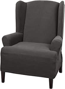 MAYTEX Pixel Ultra Soft Stretch Wing Back Arm Furniture Cover 1 Piece Chair Slipcover, Charcoal