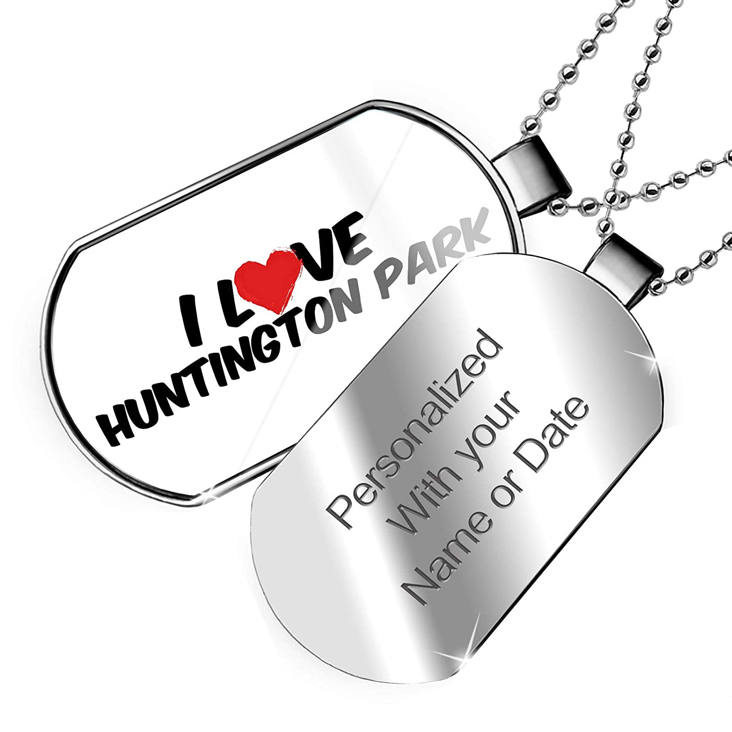 NEONBLOND Personalized Name Engraved I Love Huntington Park Dogtag Necklace