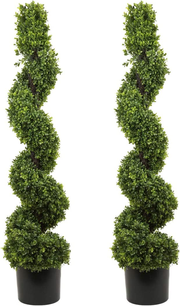 SN Decor Spiral Boxwood Artificial Topiary Trees Set of 2 Spiral Boxwood in Black Pot for Home Decor Indoor and Outdoor 4ft Spiral Boxwood Topiary Potted - New