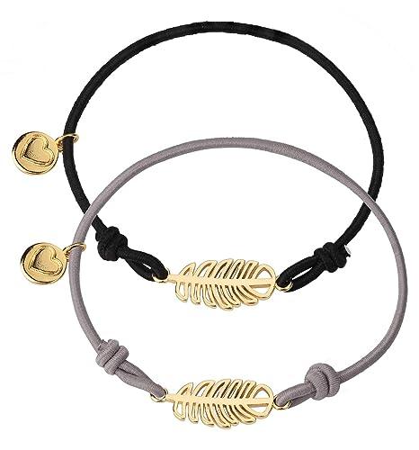 bas prix 8cac8 e0307 YADOCA 2 Pcs Elastique Bracelets Cordon pour Femme Fille Cœur Ananas Plume  Lotus Pendentif Bracelet Corde d'amitié