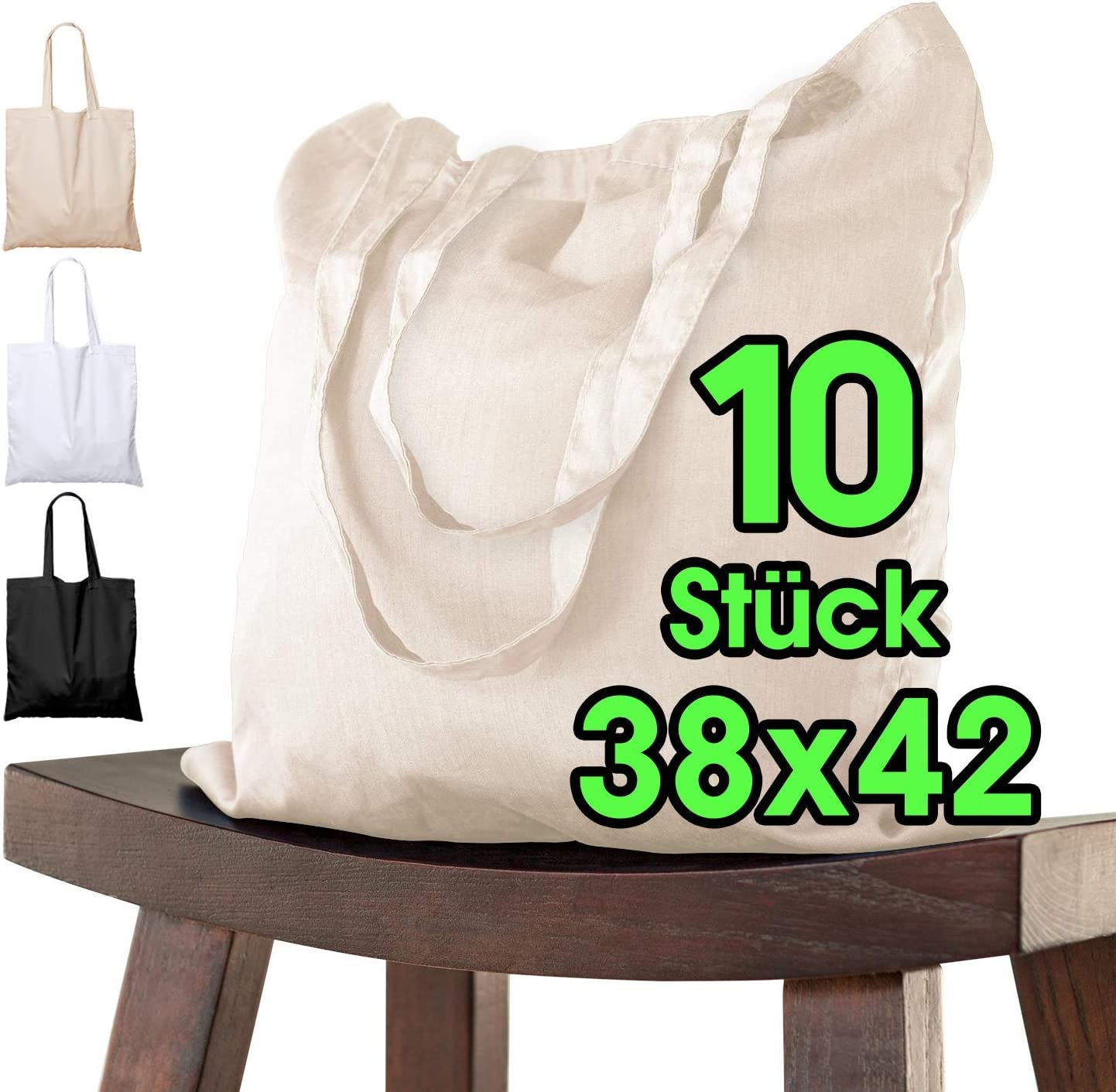 ELES VIDA Bolsa de algod/ón 38 x 42 cm Bolsa de Tela Blanco Bolsa sin Estampar 10 Unidades Bolsa de Yute con Certificado Oeko-Tex/®