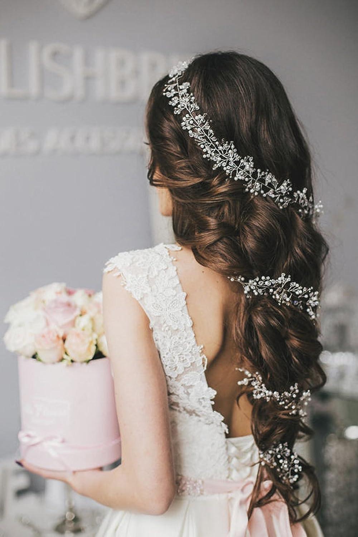 Aukmla Hochzeits-Stirnbänder, langer, glänzender Haarschmuck, Brautschmuck, Kristall-Haar-Accessoires für Brautjungfer und Braut glänzender Haarschmuck