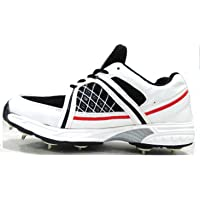 RXN Men's White/Red/Black PU Cricket Spikes Shoes -7